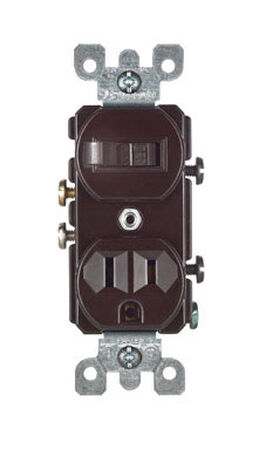 Leviton 1 15 amps Brown Combination Switch and Receptacle 1 Combination