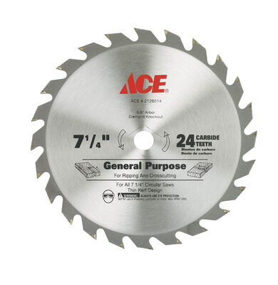 Ace 7-1/4 in. Dia. 24 teeth Carbide Tip Steel Circular Saw Blade For Ripping and Crosscutting