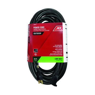 Ace Outdoor Extension Cord 16/3 SJTW 50 ft. L Black