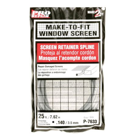 Prime-Line Window and Screen Door Frames Screen Spline 1/8 in. W x 25 in. L Gray Vinyl