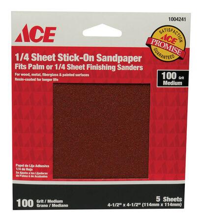 Ace Aluminum Oxide Sandpaper 4-1/2 in. L 100 Grit Medium 5 pk