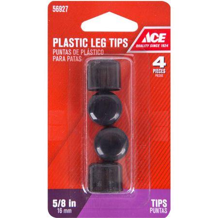 Ace Plastic Round Leg Tip Black 5/8 in. W 4 pk