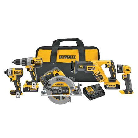 DeWalt 20V MAX XR Lithium-Ion 5 tool Combo Kit Cordless Brushless 20 volt