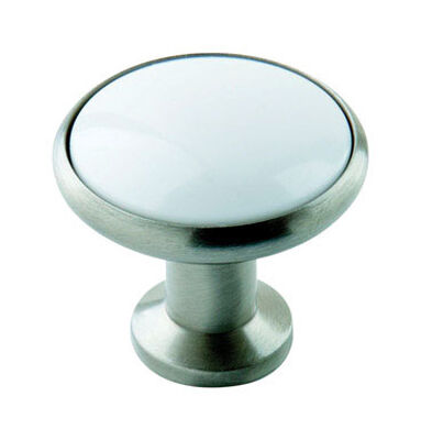 Amerock Allison Round Furniture Knob 1-3/16 in. Dia. 1-1/8 in. White/Satin Nickel 10 pk