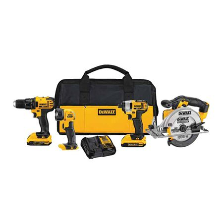 DeWalt 20V MAX Lithium-Ion Cordless 4 Tool Combo Kit with Two 2.0 AH Batteries, Charger, and Bag