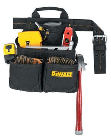DeWalt Heavy Duty Poly Fabric Nail & Tool Bag 5-1/2 in. H 6 outside pockets