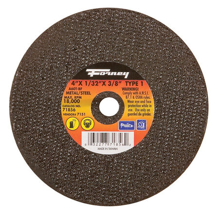Forney 4 in. Dia. x 1/32 in. thick x 3/8 in. Metal Cut-Off Wheel