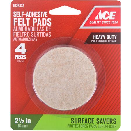Ace Felt Round Self Adhesive Pad Brown 2-1/2 in. W 4 pk