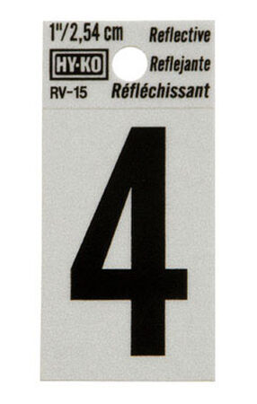 Hy-Ko Self-Adhesive Black Reflective Vinyl Number 4 1 in.