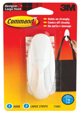 3M Command Large Designer Hook 4-1/8 in. L Plastic 5 lb. 1 pk