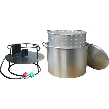 120 Qt. Propane Gas Jet Outdoor Cooker with Aluminum Pot, Basket and Lid