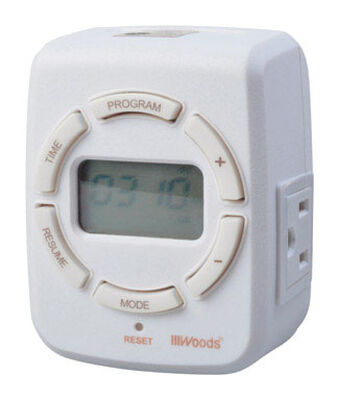 Woods Indoor 7 Day Digital Astronomical Timer 15 amps 125 volts White