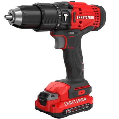 Craftsman 20V MAX 20 volt Brushed Cordless Compact Hammer Drill/Driver 1/2 in. Kit 1500 rpm 255