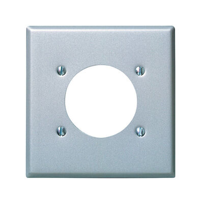 Leviton 2 gang Aluminum Steel Power Outlet Wall Plate 1 pk