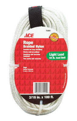 Ace 3/16 in. Dia. x 100 ft. L Solid Braided Nylon Rope White