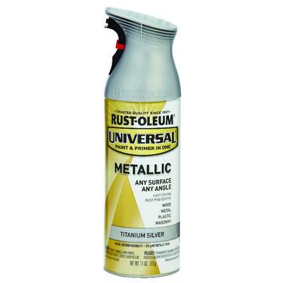 Rust-Oleum Universal Paint & Primer in One Titanium Silver Metallic Metallic Spray 11 oz.