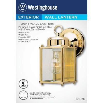 Westinghouse 1 lights Polished Brass Incandescent Outdoor Wall Lantern Fixture 1