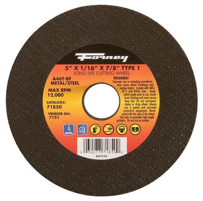 Forney 5 in. Dia. x 1/16 in. thick x 7/8 in. Metal Cut-Off Wheel