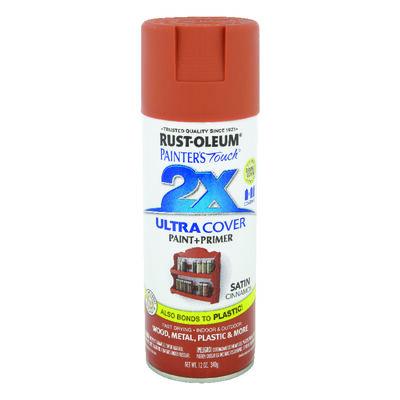 Rust-Oleum Painter's Touch Ultra Cover Cinnamon Satin 2x Paint+Primer Enamel Spray 12 oz.