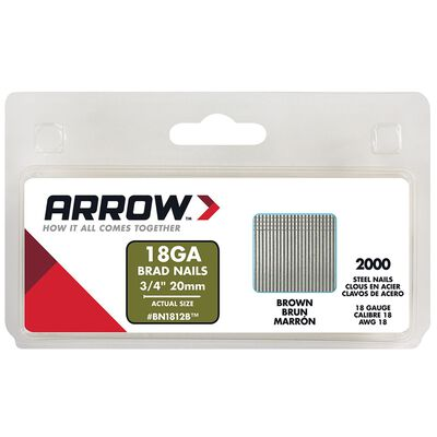 Arrow BN18 18 Ga. x 3/4 in. L Galvanized Steel Brad Nails 2000 pk Trim