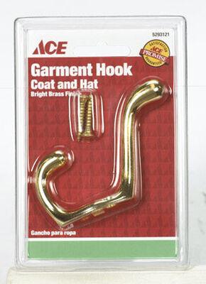 Ace Medium Heavy Duty Coat and Hat Hook 3 in. L Brass 1 pk