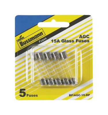 Bussmann 15 amps AGC Glass Tube Fuse 5 pk