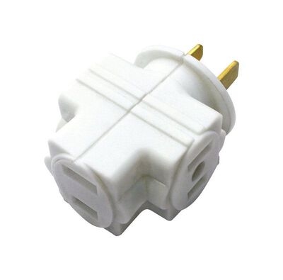 Ace Polarized Triple Outlet Adapter White 15 amps 125 volts 1 pk