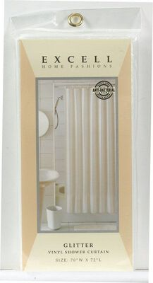 Excell 70 in. H x 72 in. L White Shower Curtain