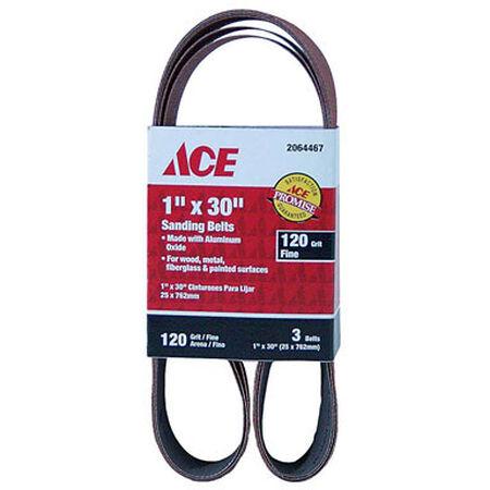 Ace Sanding Belt 1 in. W x 30 in. L 120 Grit Fine 3 pk