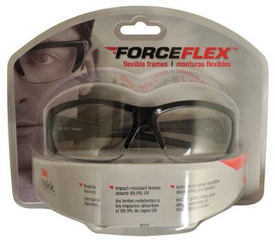 3M Forece Flex Multi-Purpose Safety Glasses Clear Lens Black Frame Clamshell