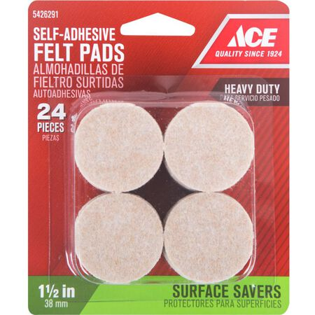 Ace Felt Round Self Adhesive Pad Brown 1-1/2 in. W 24 pk