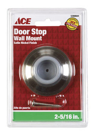 Ace Metal Wall Door Stop 2-1/4 in. L Satin Nickel Gray
