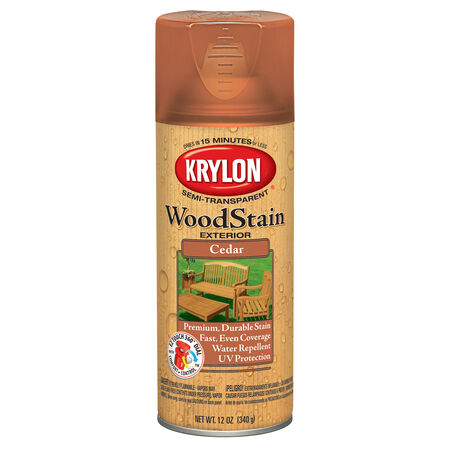 Krylon Semi-Transparent Smooth Cedar Oil-Based Oil Wood Stain 12 oz.
