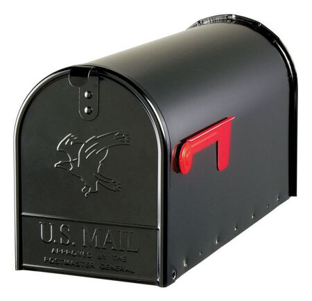 Solar Group Gibraltar Elite Galvanized Steel Post Mounted Mailbox Black 10-1/2 in. H x 22-1/4