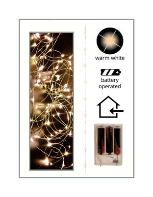 Celebrations LED Battery Operated Micro Wire Light Set Cool White 10 ft. 60 lights