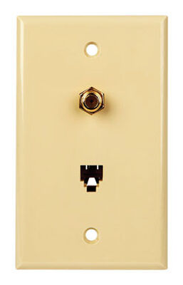 Monster Cable Just Hook It Up 1 gang Ivory Polypropylene Cable/Telco Wall Plate 1 pk