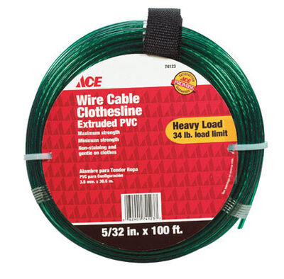 Ace 100 ft. L Green PVC Wire Cable Clothesline