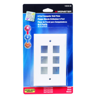 Monster Cable Just Hook It Up 1 gang White Plastic Cable/Telco Datacom Wall Plate