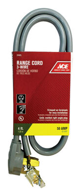 Ace 6/2 8/1 SRDT 250 volts Range Cord 3 Wire 4 ft. L Gray