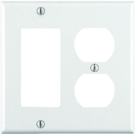 Leviton 2 gang White Thermoset Plastic Rocker/GFCI and Duplex Wall Plate 1 pk