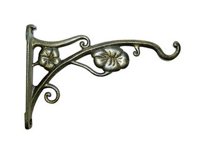 Panacea Antique Gold Steel Flowers Wall Plant Hook 9 in. H x 1 in. W