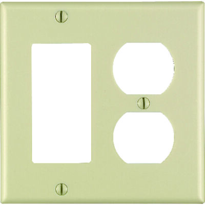 Leviton 2 gang Ivory Thermoset Plastic Rocker/GFCI and Duplex Wall Plate 1 pk