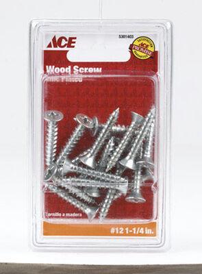 Ace Flat Wood Screw No. 12 x 1-1/4 in. L Zinc Steel 18 pk