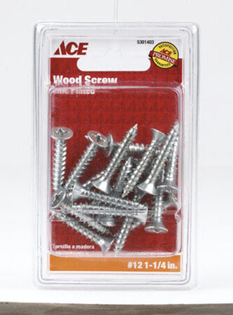 Ace Flat Wood Screw No. 12 x 1-1/4 in. L Zinc Steel 18 pk