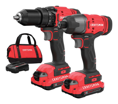 Craftsman 20V MAX Cordless 2 tools Drill/Driver and Impact Driver Combo Kit 20 volts