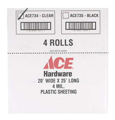 ACE Plastic Sheeting 4 mil x 20 ft. W x 25 ft. L Polyethylene Clear