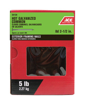 Ace Flat 2-1/2 in. L Common Nail Smooth Hot-Dipped Galvanized Steel 5 lb.