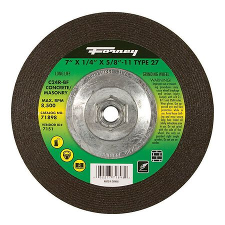 Forney 7 in. Dia. x 1/4 in. thick x 5/8 in.-11 in. Masonry Grinding Wheel