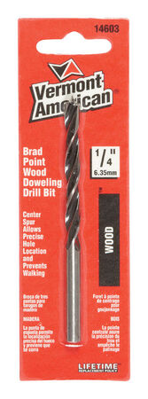 Vermont American Steel Reduced Shank 1/4 in. Dia. x 3-15/16 in. L Brad Point Drill Bit 1 pc.