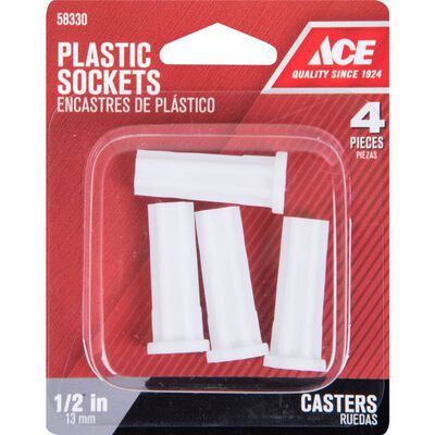 Ace Plastic 5/16 in. Dia. White Caster Socket 4 pk